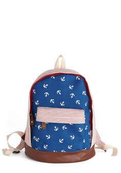 Day at the Dock Backpack. All you need for a fun-filled afternoon along the water is sure to fit within this nautical backpack! #blue #modcloth