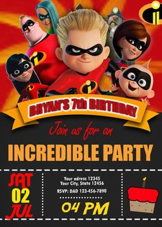 The Incredibles 2 Dash Birthday Invitation with a free backside included. Personalized The Incredibles 2 Dash Invitation for boys or girls Birthday Party. Kids Birthday Party Invitations, 6th Birthday Parties, Baby Birthday, Birthday Ideas, Incredibles Birthday Party, Teenager Birthday, The Incredibles, Digital Invitations, Party Printables