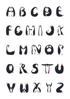 A-Z Alphabet Penguin Poster #abc #typography #penguins #illustration
