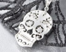 Sterling Silver Sugar Skull Pendant, Sugar Skull Jewelry, Sugar Skull Necklace, Halloween Jewelry, Day of the Dead