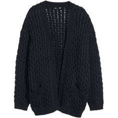 H&M Knitted cardigan ($23) ❤ liked on Polyvore featuring tops, cardigans, outerwear, jackets, black, black cardigan, black top, h&m, h&m tops and h&m cardigan