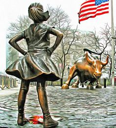 Fearless Girl Statue Canvas Print featuring the photograph Fearless Girl And Wall Street Bull Statues 5 by Nishanth Gopinathan Wall Street News, Street Art, New York Photography, Art Photography, Canvas Art, Canvas Prints, Art Prints, Framed Prints, Painting Canvas