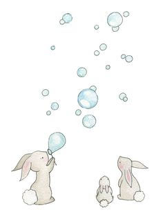 Nursery Wall Art, Bunnies and Bubbles, Rabbit Picture, Kid's Bedroom Art, Pastel… Illustration Mignonne, Cute Illustration, Rabbit Pictures, Cute Pictures, Lapin Art, Art Mignon, Baby Nursery Art, Childrens Wall Art, Bunny Art