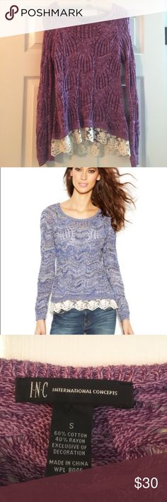 Macy's INC purple sweater with lace bottom Macy's INC purple sweater with lace bottom. Super beautiful comfortable sweater. Very versatile. Looks great with leggings. INC International Concepts Sweaters Crew & Scoop Necks
