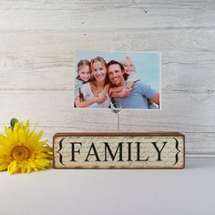 Wood Photo Holder-Family- Country Decor- Wooden Blocks- Words- Vintage Style- Distressed- Home Decor
