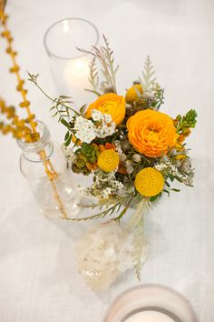 yellow, green, and white centerpieces by BashPlease.blogspot.com // photo by BirdsofaFeatherPhoto.com
