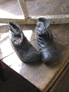 Childrens Old Shoes. I have a large collection of them. HighButtonShoe farmhouse.