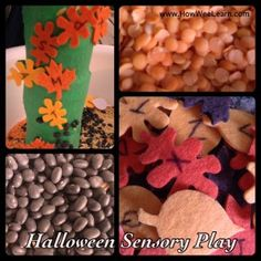 #Halloween Sensory Play AND a Sticky Tree.  A great way to explore different sensations, play with letters, and experiment!! #OT