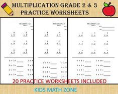 Excited to share this item from my shop: Multiplication worksheets for Grade 2 & 3 - 20 sheets/ pdf/ Year Grade Numeracy Games Kids/ Printable Multiplication Printable Multiplication Worksheets, Math Addition Worksheets, Multiplication Practice, 2nd Grade Worksheets, 1st Grade Math, Grade 2, School Worksheets, Math Workbook, Basic Math