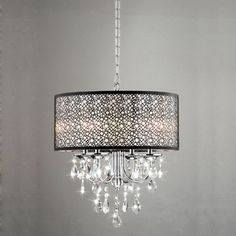@Overstock.com - Indoor 4-light Chrome/ Crystal/ Metal Bubble Shade Chandelier - Add classic elegance to your foyer or dining room with this 4-light crystal, metal bubble shade chandelier. This light is stunning. With its crystal accents and an antique bronze shade, this chandelier will fit into a vintage or modern decor.  http://www.overstock.com/Home-Garden/Indoor-4-light-Chrome-Crystal-Metal-Bubble-Shade-Chandelier/5152199/product.html?CID=214117 $163.79