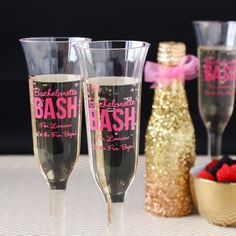 Get the bachelorette bash started!  Personalized Plastic Champagne Flutes by Beau-coup