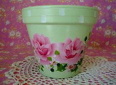 Terracotta Clay Decorative Flower Pot Hand Painted by  5 1/2- $15