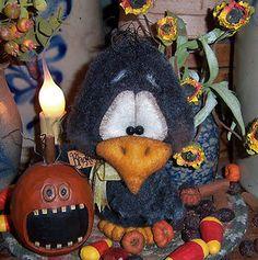 "Primitive Black Chicken Hawk Bird Crow 5"" Bear Doll ★ Vtg Patti's Ratties Ornie"