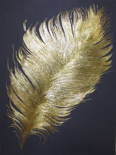 Original Abstract Collage by Olga Avdonkina Gold Leaf Art, Gold Art, Art Deco Artists, Feather Art, Feather Design, Diy Canvas Art, Texture Painting, Belle Photo, Painting Inspiration