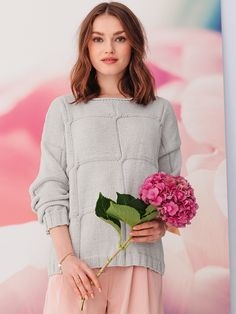 FANTILLE genser i Phil EcoCoton Crochet With Cotton Yarn, Organic Cotton Yarn, Crochet Yarn, Knitting Yarn, Cute Jumpers, Sport Weight Yarn, Pulls, Sarees, Bell Sleeve Top