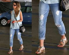 Jessica Alba wearing mint green top with a pair of 7 For All Mankind Josephina Cropped Jeans in the color Light Destroyed.  Silver sandals are Delman Maud Flat Sandals.