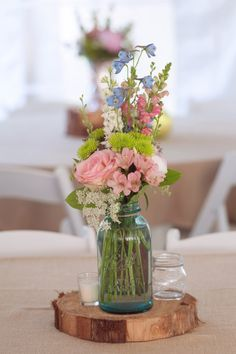 Aqua mason jar centerpiece // photo by Jenn Guthrie Photography, see more: http://theeverylastdetail.com/eclectic-colorful-southern-wedding/