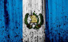 Download wallpapers Guatemalan flag, 4k, grunge, North America, flag of Guatemala, national symbols, Guatemala, coat of arms of Guatemala, Guatemalan national emblem