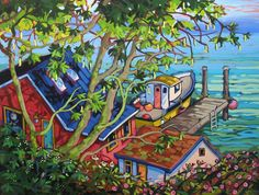 Artwork by artist Greta Guzek, represented by the West End Gallery. Seascape Paintings, Watercolor Paintings, Canadian Artists, Canadian Painters, Mini Canvas Art, Naive Art, Art For Art Sake, Abstract Landscape, Painting Inspiration