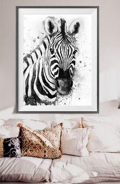 Black & White Zebra watercolor painting print Zebra by SlaviART