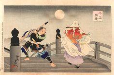 Toyohara Chikanobu / Benkei und Ushiwakamaru auf der Gojo Brücke