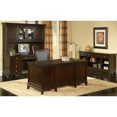 Kennett Square Standard Desk Office Suite by Wynwood Furniture. $1009.00. Kennett Square Square Office Series Features: -Drop front pull out center drawer with pencil tray.-Box with adjustable dividers.-Desk has file drawer per pedestal.-Credenza has box with adjustable dividers and file drawer in left pedestal, box drawer and CPU compartment with adjustable shelf in right pedestal, ventilated CPU compartment.-Cable accessible. Construction: -Constructed of cherry venee...