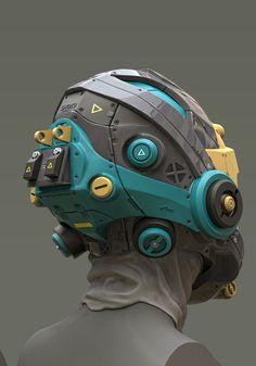 Helmet Concepts on Behance Robot Concept Art, Environment Concept Art, Graffiti Pictures, Surface Modeling, Arte Robot, Sci Fi Comics, Cyberpunk Character, Sci Fi Armor, Cool Masks