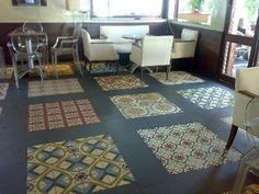 Centered Cuban tiles for when we replace our kitchen hardwood. Cuban Restaurant Design Ideas, Pictures, Remodel, and Decor - page 3 Victorian Tiles, Antique Tiles, Spanish Design, Spanish Tile, Cuban Restaurant, Restaurant Design, Cuban Cafe, Patchwork Tiles, Wine Cellar Design
