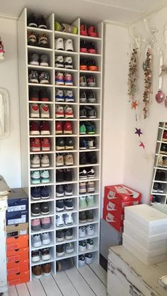 shoe storage Get In-Home Care To Help You Article Body: If you are struggling with a wi Shoe Storage Design, Shoe Storage Solutions, Closet Shoe Storage, Diy Shoe Rack, Storage Ideas, Shoe Racks, Storage For Shoes, Basement Storage, Basement Remodeling
