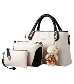 Linbia Women 3 Piece Tote Bag Zipper Handbag Purse Bags Set Beige, Handbags  - Amazon Canada