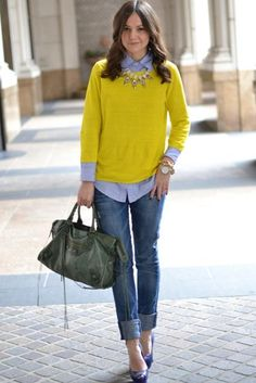 yellow / chambray or oxford / rolled denim