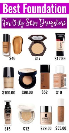 Best Liquid Foundation For Oily Skin - The key to be able to makeup that stays grease-free through the day is starting with the best foundation for your Best Foundation For Oily Skin, Best Drugstore Foundation, Airbrush Foundation, No Foundation Makeup, Liquid Foundation, Top Foundations, Greasy Skin, Makeup