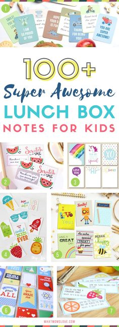 Lunch box notes for kids | Funny jokes and encouragement for girls and boys, kindergarten to teens | Many are free lunch note printables!