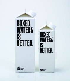 Purely typographic packaging for Boxed Water Is Better. Water Packaging, Water Branding, Cool Packaging, Food Packaging Design, Beverage Packaging, Bottle Packaging, Brand Packaging, Branding Design, Boxed Water Is Better