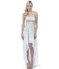 SALE! 2013 Homecoming Dresses - Ivory Sequined Strapless High-Low Dress - Unique Vintage - Prom dresses, retro dresses, retro swimsuits.