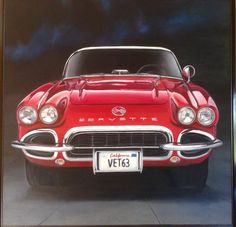 Chevrolet corvette oil painting by Ernesto Godoy