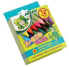 Jolly X-BIG DELTA. Durch die drei Kanten kannst du sie extra gut halten. Und diese Fasermaler sind auswaschbar!