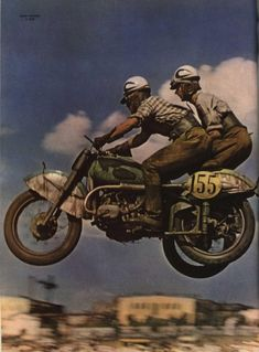 Vintage Motorcycles Two-man motocross motorcycle team get air: Post-Stalin era photo from the Soviet magazine 'SMENA' or 'Change' in English. Motocross Bikes, Vintage Motocross, Vintage Racing, Russian Motorcycle, Ural Motorcycle, Motorcycle Racers, Motorcycle Travel, Motorcycle Outfit, Bmw Boxer