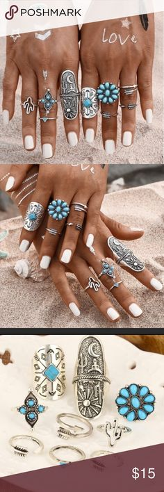Boho Chic 9 Piece Ring Set! Boho Gypsy style silver plated with turquoise 9 piece Ring Set.  All rings are different sizes and some are adjustable.  A combo of different styles both midi and Knuckle.  Stylish and Fun! Jewelry Rings