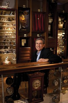 Nobel laureate Orhan pamuk amid the museum's display cabinets.