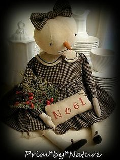 Primitive-Winter-Snowman-Snow-Girl-Doll-with-PinKeep-OOAK-from-Prim-by-Nature