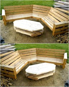We love to show the garden decoration ideas because we want people to enjoy the beauty of nature while sitting outside their home, so here is a great repurposed wood pallet garden furniture idea. The seat is created with a unique design and the table as w Used Outdoor Furniture, Pallet Garden Furniture, Outside Furniture, Pallets Garden, Bar Furniture, Rustic Furniture, Outdoor Sofa, Antique Furniture, Furniture Stores
