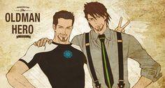 Tiger & Bunny / Avengers / Iron Man ~~ The older but wiser man for me! :: Tony Stark and Kotetsu T. Kaburagi