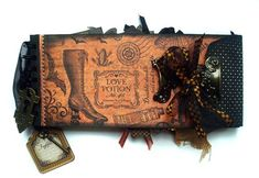 Nichola made this amazing altered Black Policy Envelope album using Steampunk Spells! Click to see more pages! #Graphic45 #steampunk #minialbums