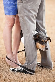 We love this engagement shoot! It's such a sweet shot, and what better way to include man's best friend in your big day?!