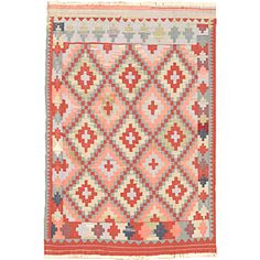 """6'0"""" x 9'3"""" Ottoman Kilim in Aqua and Red - Beyond the Rack"""