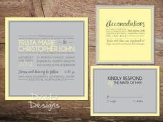 Simple Square Wedding Invitation : can be custom made for your wedding! Feel free to ask for additional pieces - RSVP, Accommodations, Registry Card, etc. www.drietzdesigns.com