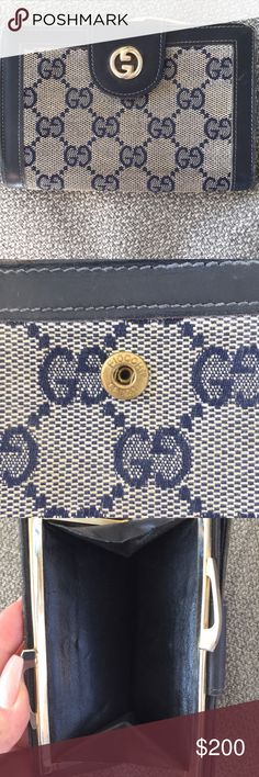 Authentic vintage Gucci wallet! Classic Gucci print. Coin purse and wallet. Fiocchi Lecco emblem on button clasp. Gucci Bags Wallets