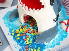 How to Make a Shark Cake : Food Network Shark Birthday Cakes, Birthday Bash, Birthday Parties, Fish Candy, Weird Holidays, Shark Cake, Themed Cakes, Food Network Recipes, Cake Recipes