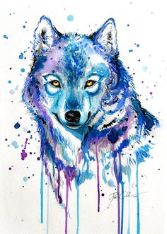 Cool wolf abstract art drawings and pinseana marie on beauty, art and style Watercolor Wolf, Watercolor Animals, Tattoo Watercolor, Abstract Wolf, Abstract Art, Abstract Paintings, Wolf Painting, Drip Painting, Ice Art